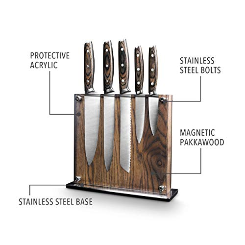 Steel Cutlery With Wooden Holder - Art & Cook Elite 6PC Magnetic Knife Block Set by Ar+cook (Image #2)
