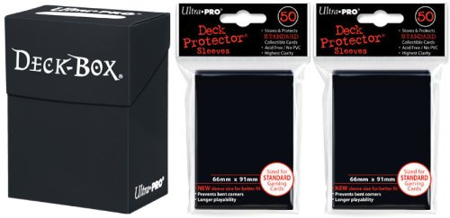 Ultra-Pro Black Deck Box + 100 Black Sleeves (fits Magic/MTG, Pokemon Cards) by Deck Box/Deck Protector