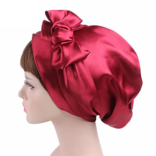 Satin Sleeping Bonnet with Drawstring - Tifara Beauty Curling Rods Lottabody Wrap for Women Slouchy fits Long Curly Natural Hair -