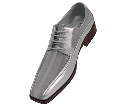 Viotti Men's Formal Oxford Dress Shoe Striped Satin and Patent Tuxedo Classic Lace Up With or Without Tip Style 179/5205 by Viotti