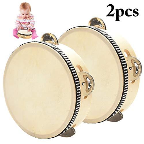 Joyibay 2PCS Kids Tambourine Instrument Wooden Tambourine Drum Musical Instrument
