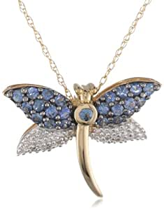 14k Yellow Gold Blue Sapphire and Diamond Dragonfly Pendant (.05 cttw)