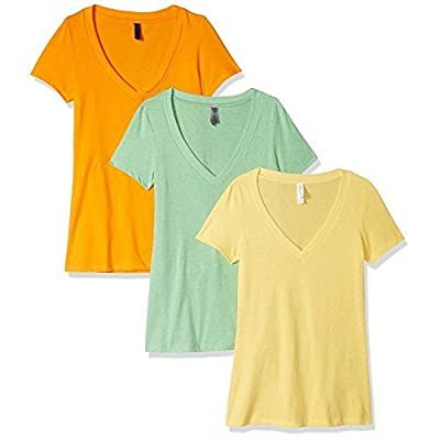 Clementine Apparel Women's Petite Plus Deep V Neck Tee (Pack of 3): Clothing