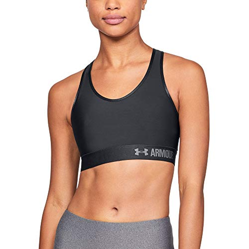 Under Armour Women's Armour Mid Sports Bra, Black /Gray Area, Large ()
