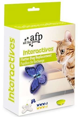 Butterfly Cat Toy - All For Paws AFP Flutter Bug Refill Pack (Box Contains 6 Flutter Bugs)