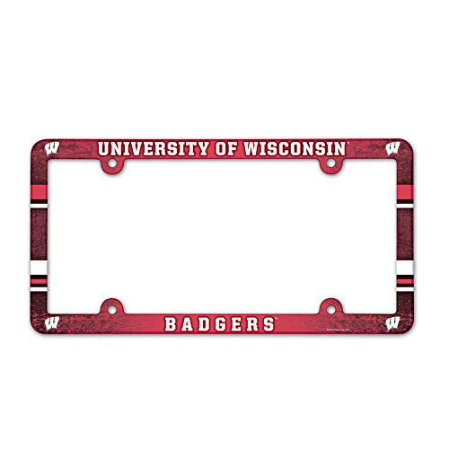 NCAA Wisconsin Badgers Full Color License Plate Frame, Team Color, One - Frame Badgers Wisconsin Plate License