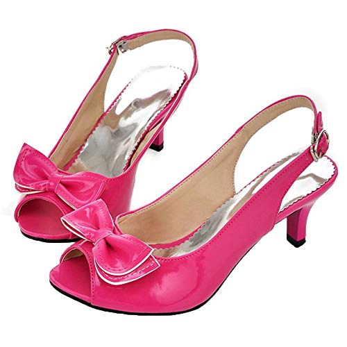 Vitalo Womens Peep Toe Kitten Heel Slingback Pumps with Bows Sandals Size 9 B(M) US,Hot Pink
