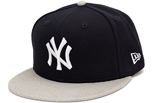 Navy New Era Leather - New Era New York Yankees Rugged Leather Navy/Grey Fitted Cap, 7 5/8