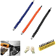 GL Gear 3 Pack Flexible Extensicon Screwdriver Bit,11.8 Inch Magnetic Quick Connect Drive Shaft Tip for Electric Drill (1 pair gloves free )