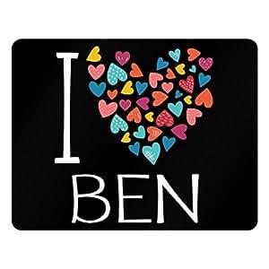 Idakoos I love Ben colorful hearts - Male Names - Plastic Acrylic