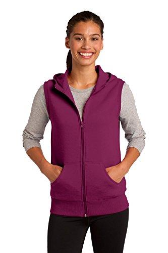 Sport-Tek Women's Hooded Fleece Vest, Small, Pink Rush