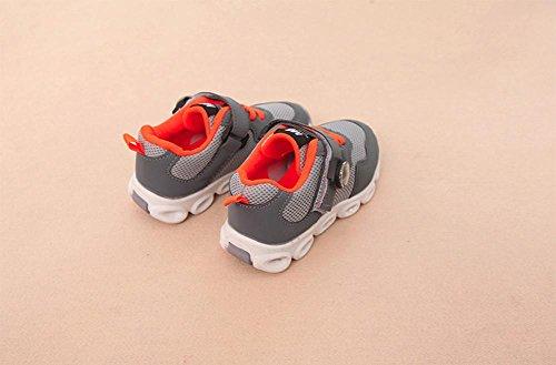 TPulling Mode Herbst Und Frühling Kinder Männlicher Und Weiblicher LED-Mesh Atmungsaktive Sportschuhe Weiche Sohle Tanzschuhe Schuhe Sportschuhe Rutschfeste Turnschuhe Lässige Schuhe Grau