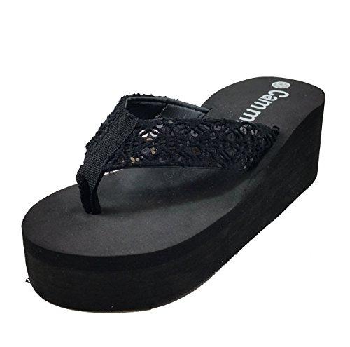 Women's Fashion Wedge Platform Flip Flops Thong Sandals (8, Bk/ Black bead Lace)