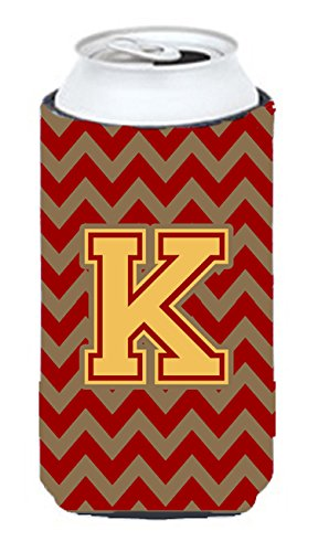 Letter K Chevron Garnet and Gold  Tall Boy Beverage Insulator Hugger CJ1048-KTBC ()