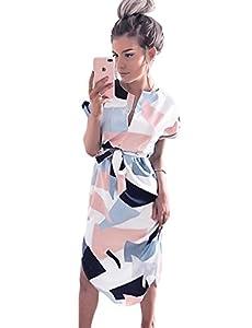 LitBud Womens Midi Dresses Summer V-Neck Short Sleeve Casual Office Geometric Belted Dress