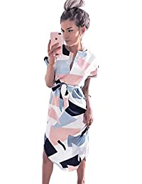 Womens Midi Dresses Summer V-Neck Short Sleeve Casual Office Geometric Belted Dress