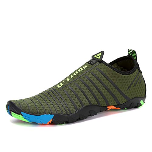 MILIMIEYIK Sneakers for Women Guess, Womens and Mens Water Quick-Dry Socks Barefoot Outdoor Beach Swim Surf Shoes Sneaker Army Green ()
