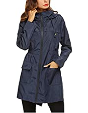 Yxiuexur Rain Jacket for Women Lightweight Waterproof Hooded Raincoat Packable Travel Zip Long Windbreaker Rain Coat
