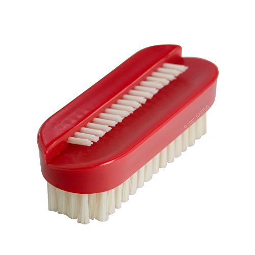 Two Sided Nail Brush Scrubber, Firm Bristles (Red)