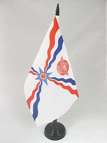 (AZ FLAG Assyria Table Flag 5'' x 8'' - Assyrian Desk Flag 21 x 14 cm - Black Plastic Stick and)