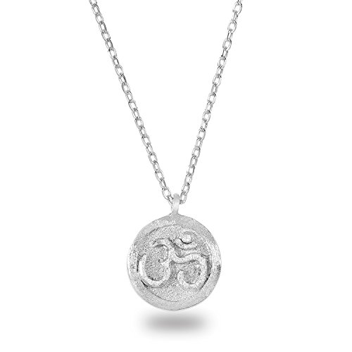 Rhodium Plated 925 Sterling Silver Matte Finish Textured OHM Om Aum Pendant Necklace,18