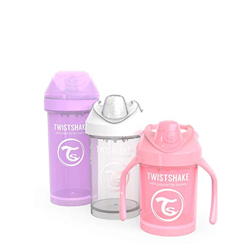 Twistshake Mixed Cup Bundle for Girls (1) Pastel Pink Kid Cup 12oz (1) White Crawler Cup 10oz (1) Pastel Pink Mini Cup 8oz