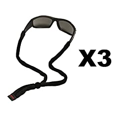 Chums Original Cotton Standard End Eyewear Retainer, Black (3 Pack)