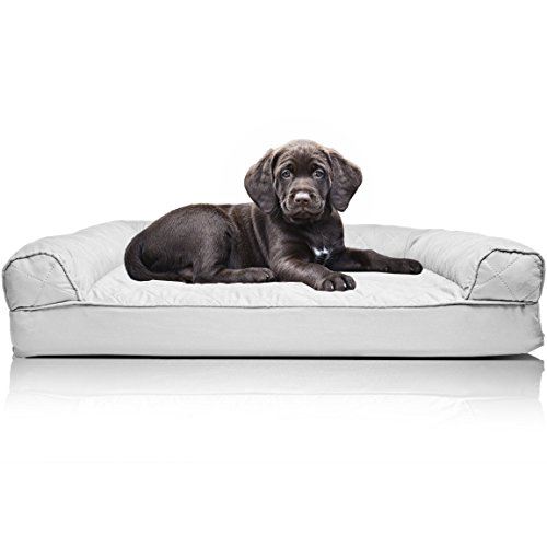 Quilted Dog Crate - FurHaven Pet Dog Bed | Orthopedic Quilted Sofa-Style Couch Pet Bed for Dogs & Cats, Silver Gray, Small