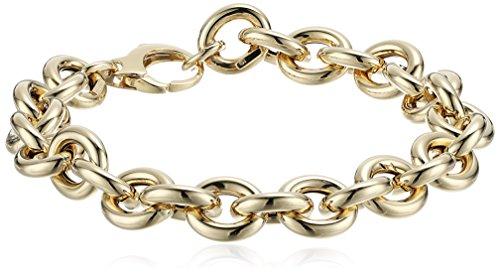 14k Yellow Gold Italian Bold Polished Rolo Link Bracelet,...