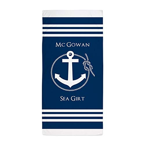 CafePress Nautical Anchor Personalized Large Beach Towel, Soft 30