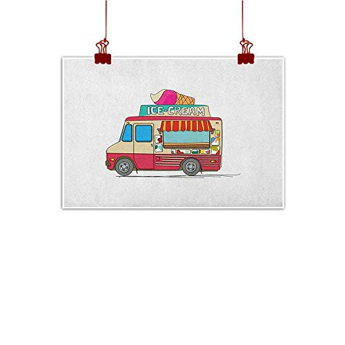 Sunset glow Decorative Art Print Truck,Ice Cream Truck Colorful Illustration Business Idea Cartoon Style Cutaway Vehicle, Multicolor 24