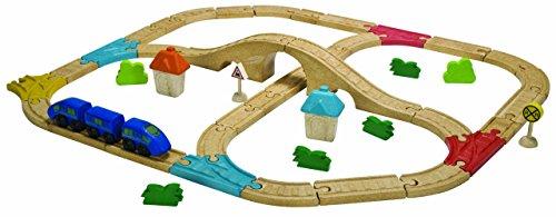 Plan Toys Train - PlanToys City Road and Rail Railway Set