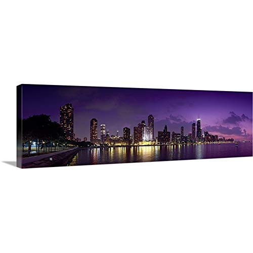 GREATBIGCANVAS Gallery-Wrapped Canvas Entitled Buildings at The Waterfront, Hancock Building, Lake Michigan, Chicago, Cook County, Illinois, by 36