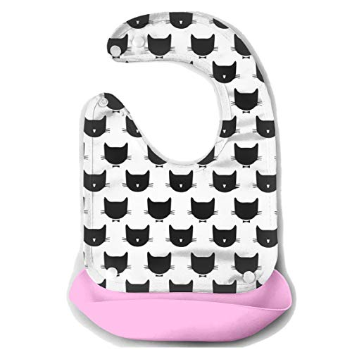 - ROCKSKY Super Baby Bibs - Cute Black Cats Baby Bandana Bibs Water Ressistant Drooling & Teething Bib Cute Baby Boys and Girls Gift, Food Catcher Pocket Baby Bibs