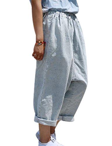 Donna Larga Pantaloni Vita Gamba A Youlee Jeans Strisce Blu Elastica AqdvAI