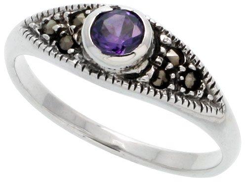 Sterling Silver Marcasite Thin Ring, w/ Brilliant Cut Amethyst CZ, 3/16