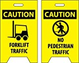 NMC FS34 Double Sided Floor Sign, Legend ''CAUTION - FORKLIFT TRAFFIC NO PEDESTRIAN TRAFFIC'' with Graphic, 12'' Length x 20'' Height, Coroplast, Black on Yellow