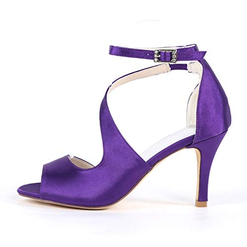 Cm Peep tacchi Spillo Raso Sposa A Purple Scarpe Alti Toe Con E 8 Tacco In 5 Fibbia Alto Donne Eleoulck Tacchi Sandalo Da T5q7881w
