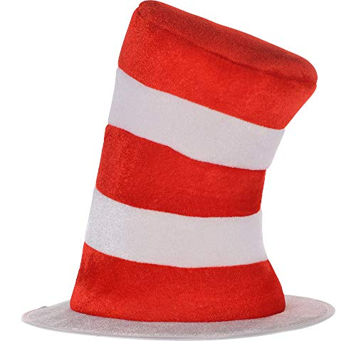 Cat And The Hat Hats (Costumes USA Dr. Seuss Cat in the Hat Top Hat for Kids, Halloween Costume Accessories, One)