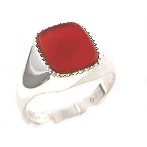 - Sterling Silver Mens Cushion Cut Cornelian Signet Ring - Size 8.75 - Sizes 8 to 12 Available