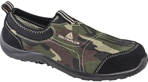 Canvas Steel Toe Sneaker Shoe (Delta Plus Miami Camoflague Camo Canvas Slip On Steel Toe Safety Trainers Sneakers (US 10))