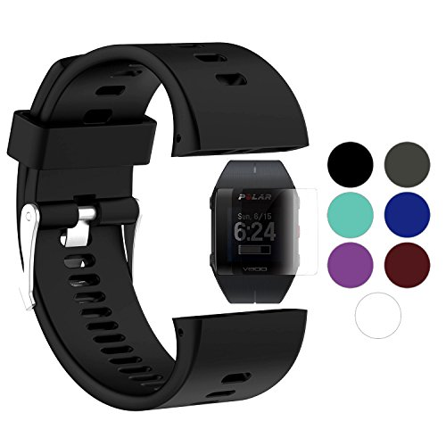 TUSITA Band For Polar V800 With Screen Protector, Replacement Silicone Strap Bracelet WristBand Accessory for Polar Smart Watch (Black)