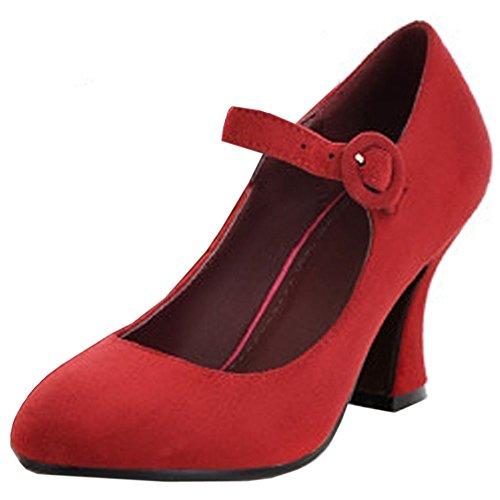 COOLCEPT Mujer Classic Mary Janes Bombas Zapatos Al Tobillo Zapatos Tacon Ancho Rojo