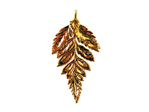 Fern Leaf Pendant - Edel-Heid 24k Gold Dipped Real Fern Leaf Pendant, Gold Plated Fern Leaf Necklace, Made in USA