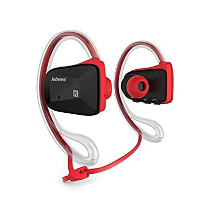 Jabees Bluetooth V 4.1 Sport Wireless Stereo Music Headsets Headphone Earphone With Dual Microphone for Apple watch, iPhone, Samsung Galaxy, Android Cell Phones and Other Bluetooth Devices (Red)