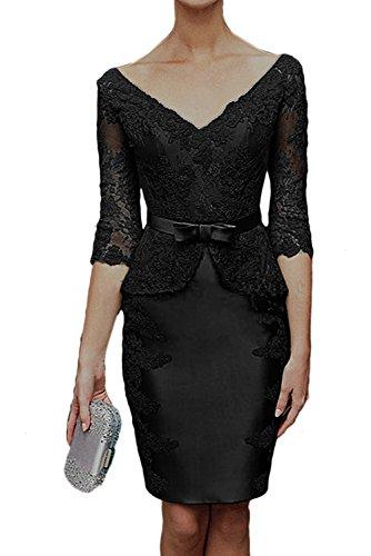 Schwarz Brautmutterkleider Damen Abendkleid Spitzenkleider Hochwertig Ausschnitt V Ivydressing Aermeln Mit vqzww8