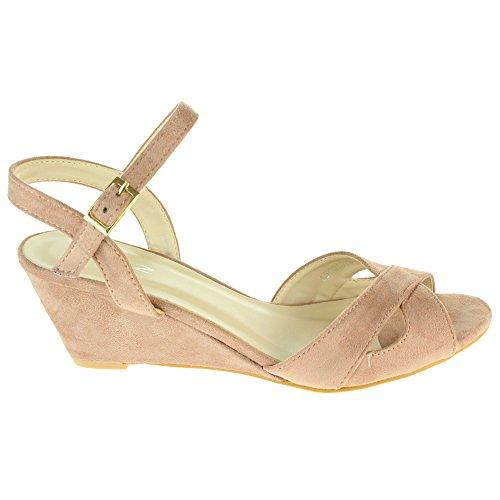 Mujer Señoras Correa cruzada Hebilla Cierre Noche Boda Fiesta Peep Toe Casual Tacón de cuña Sandalias Zapatos Tamaño Rosa