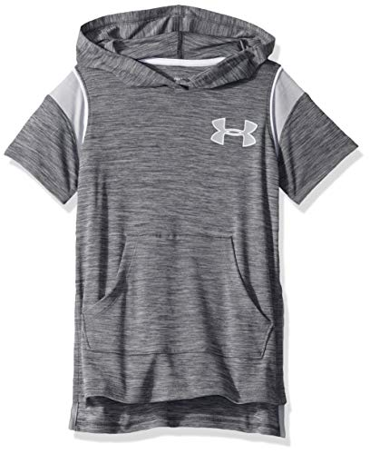 Under Armour Tech Short Sleeve Hoodie, Pitch Gray Light Heather//Mod Gray, Youth Small