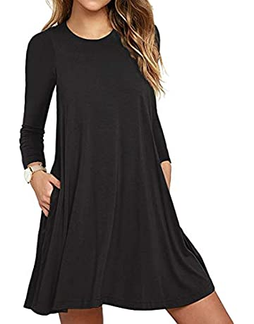 df7bd55a1c Women's Long Sleeve Pocket Casual Loose T-Shirt Dress