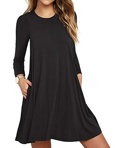Unbranded* Women's Long Sleeve Pocket Casual Loose T-Shirt Dress Black Small